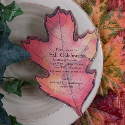 a fall wedding invitation shaped and colored as a fall leaf is a very fun and cute idea