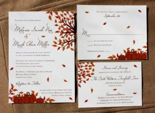 a bright fall wedding invitation suite with bright fall leaves printed is a timeless idea for a fall wedding