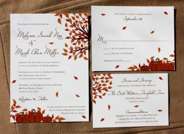 stylish and elegant fall wedding invitations  weddingomania, Wedding invitations