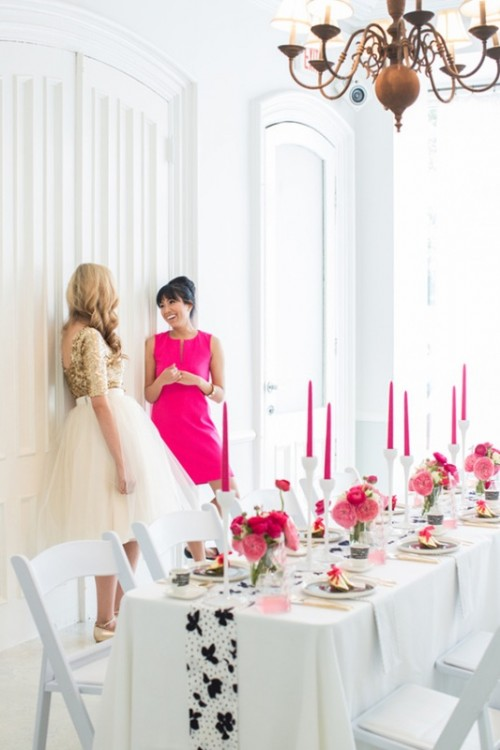 Stylish And Modern Fuchsia, Black And White Bridal Shower Ideas
