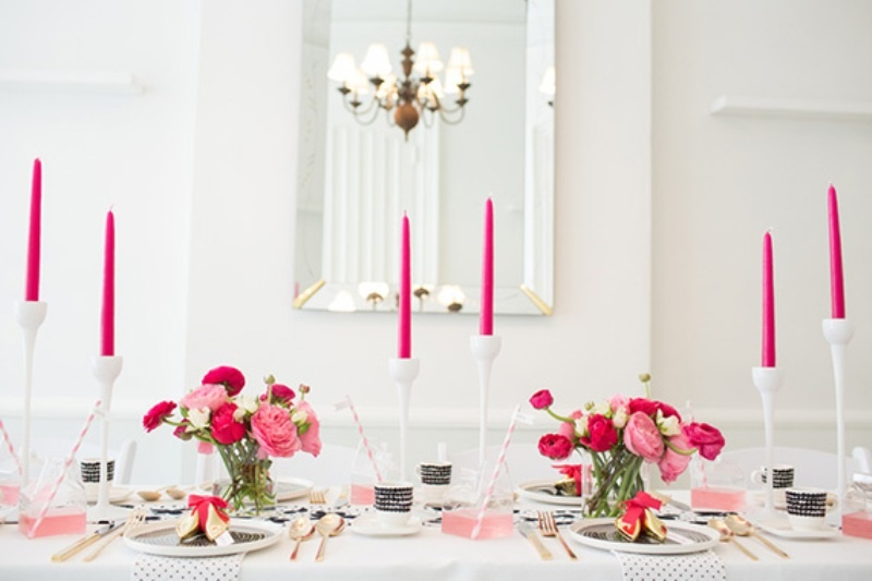 picture of stylish and modern fuchsia black white bridal shower