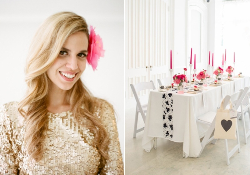 Bridal Shower Hairstyle : Stylish and modern fuchsia black white bridal shower ideas