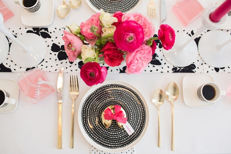 Stylish And Modern Fuchsia Black And White Bridal Shower Ideas