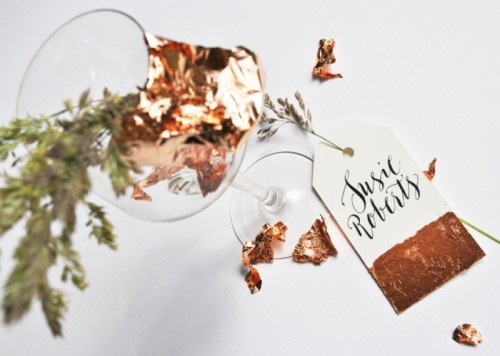 Stylish DIY Copper Dipped Wedding Place Settings