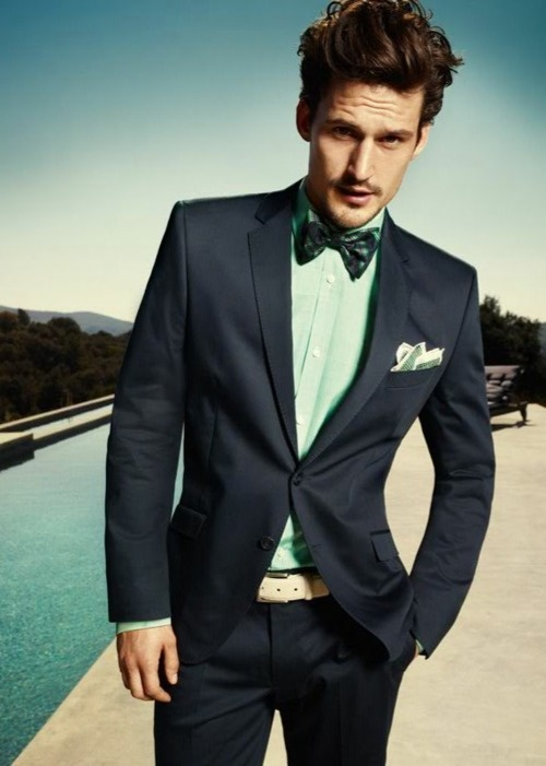if you need a more formal look, try a graphite grey suit, a mint shirt and a printed bow tie