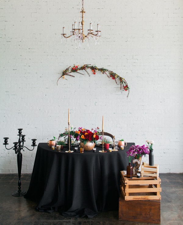 Picture Of stylish industrial maroon wedding inspiration with metallic accents  1