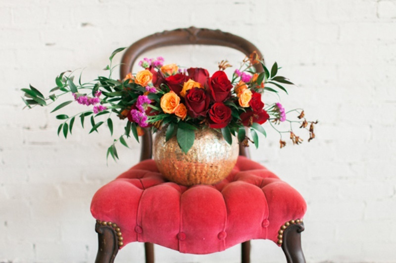 Picture Of stylish industrial maroon wedding inspiration with metallic accents  12