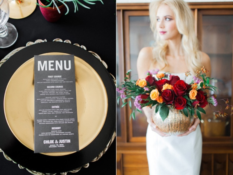 Picture Of stylish industrial maroon wedding inspiration with metallic accents  13