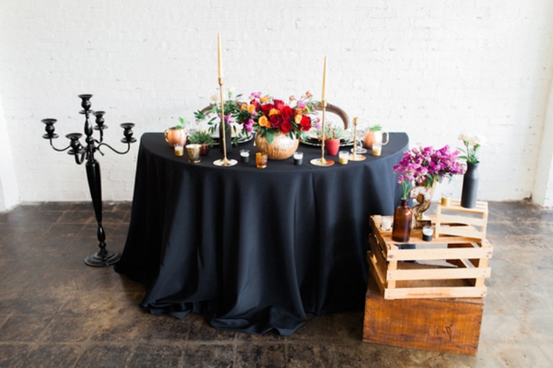 Picture Of stylish industrial maroon wedding inspiration with metallic accents  8