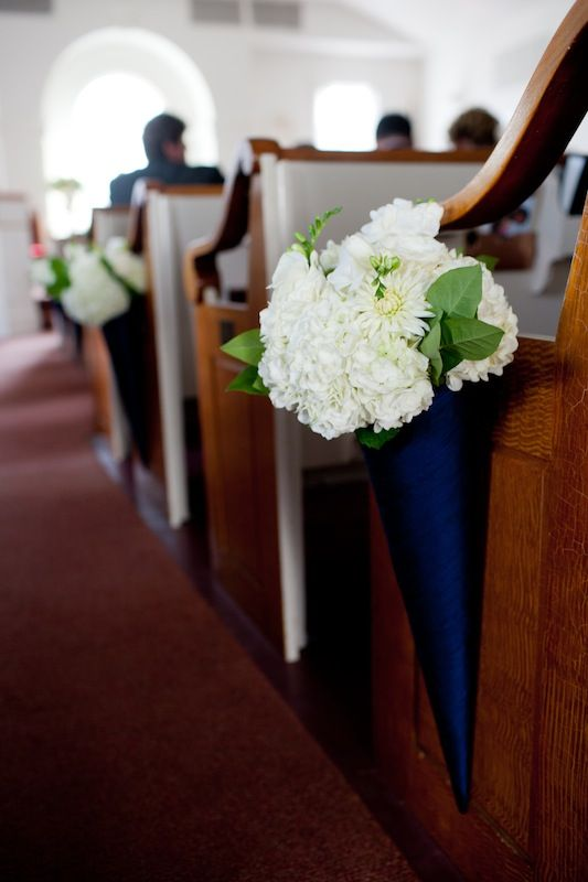 navy cones with white hydrangeas will accent your wedding aisle at their best