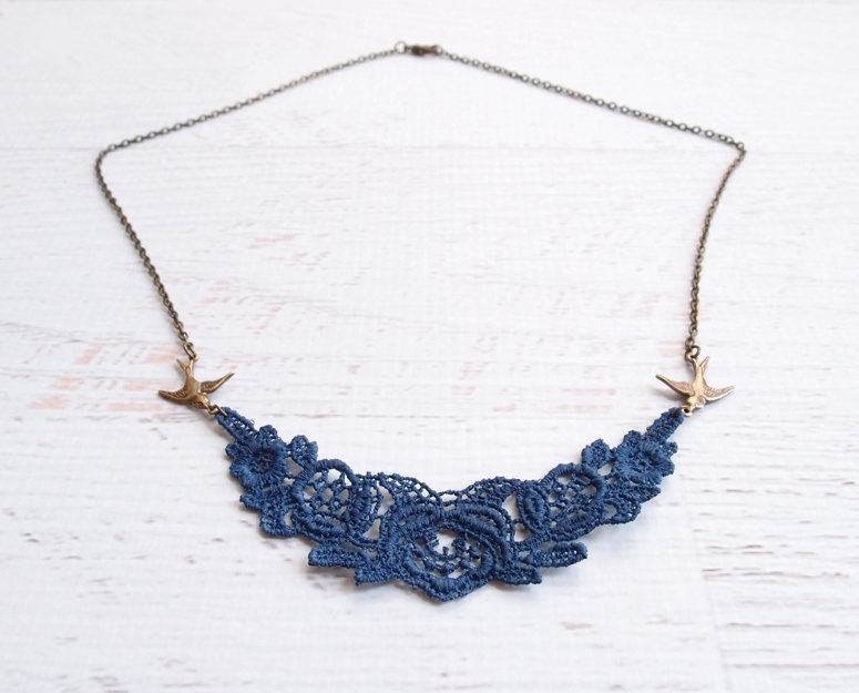 a navy lace necklace with gold birds is a lovely and bold accessory for a bride or bridesmaids