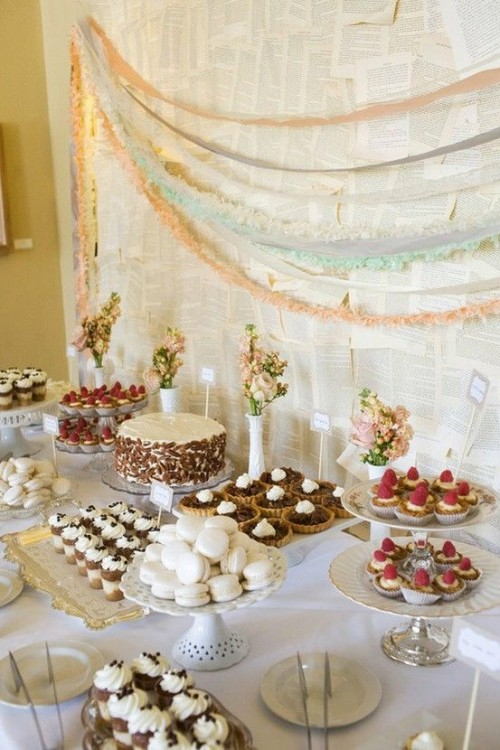a white wedding dessert table with a newspaper backdrop plus pastel garlands for a vintage feel