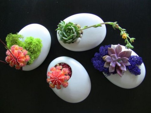 creative white egg planters with colorful succulents and moss plus greenery is a unique idea for a minimalist wedding
