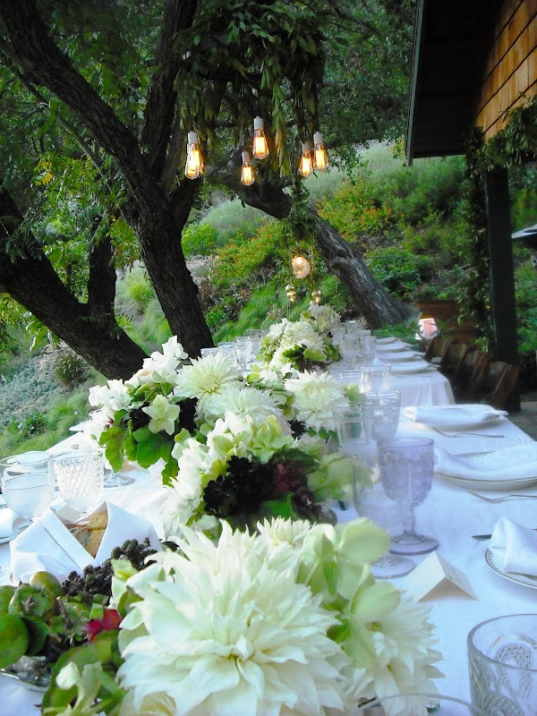 a neutral summer wedding tablescape with lush florals, greenery and a touch of dark and white place settings