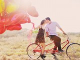 Sunny Engagement Session With Heart Balloons