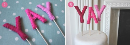 Sweet And Personalized Diy Felt Ombre Wedding Cake Toppers
