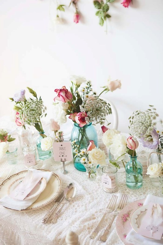 Picture Of sweet and romantic pastel vintage table settings  1