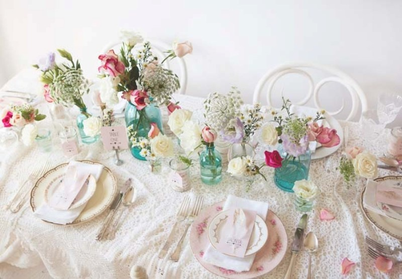 Picture Of sweet and romantic pastel vintage table settings  3