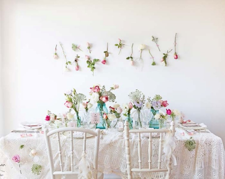 Picture Of sweet and romantic pastel vintage table settings  9