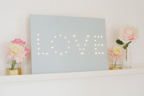 Sweet DIY 'Love' Illuminated Wedding Sign
