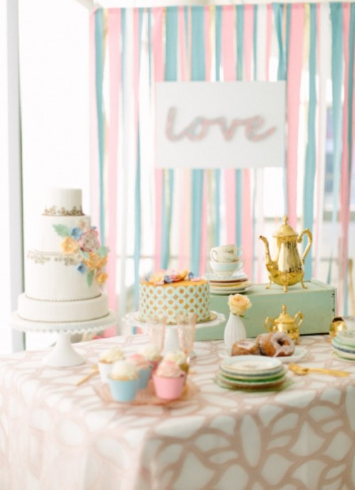 Sweet Pastel Bridal Shoot With Vintage And Geometric Touches