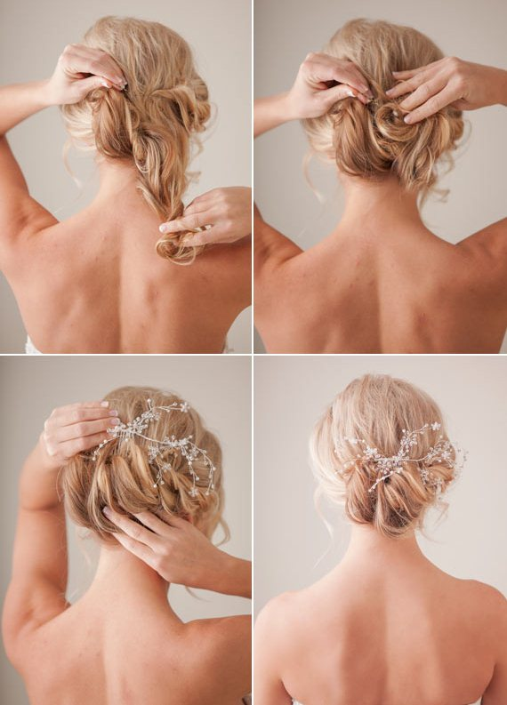 Picture Of Tender And Feminine Diy Bridal Hairstyle