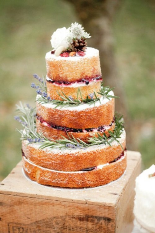 The Beauty Of The Naked Wedding Cake: 35 Inspirational Ideas
