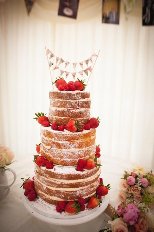 Semi Naked Wedding Cake - The Cake Shop