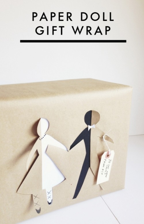 Cute Wedding Gifts Diy : The Cutest And Easiest DIY Paper Doll Bridal Gift Wrap Weddingomania