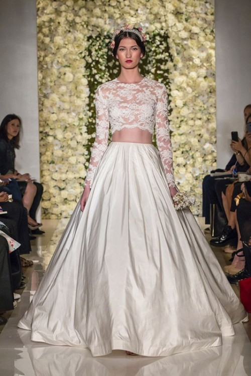 a luxurious bridal separate with a lace crop top with long sleeves and a full plain skirt with subtle pleating for a royal-like look