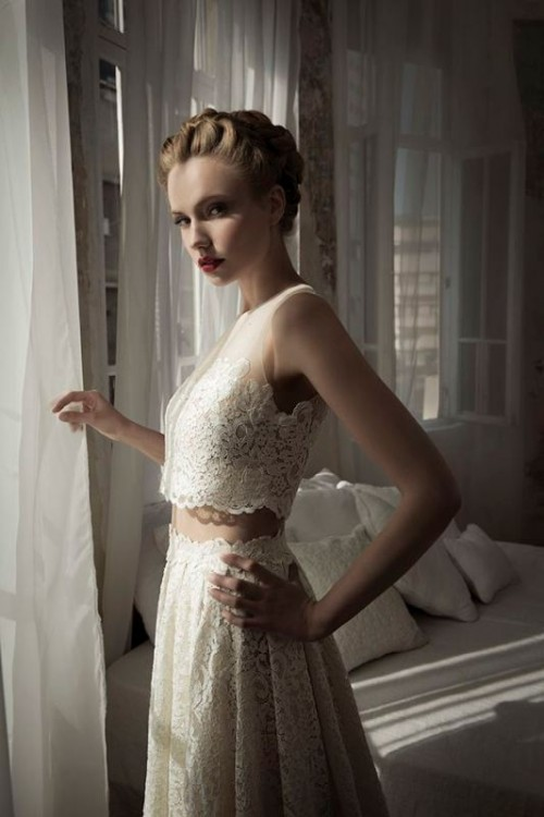 a gorgeous lace bridal separate with a sleeveless crop top and a maxi A-line skirt is amazing
