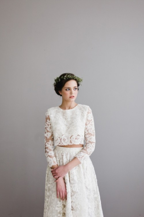 a romantic lace bridal separate with a crop top with a high neckline and long sleeves and a long A-line skirt for a boho bride
