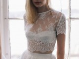 a beautiful bridal separate with a crop with a high illusion neckline and short sleeves, a matching maxi skirt