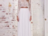 a white lace crop top with long sleeves and a plain maxi skirt for a chic and very romantic bridal look