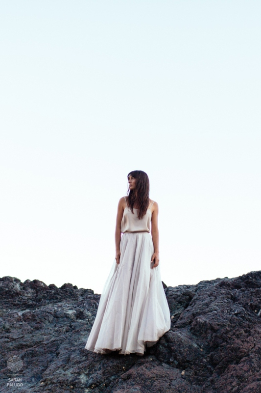 a simple and very casual bridal separate with a blush spaghetti strap top and a a neutral layered tulle skirt is a stylish idea