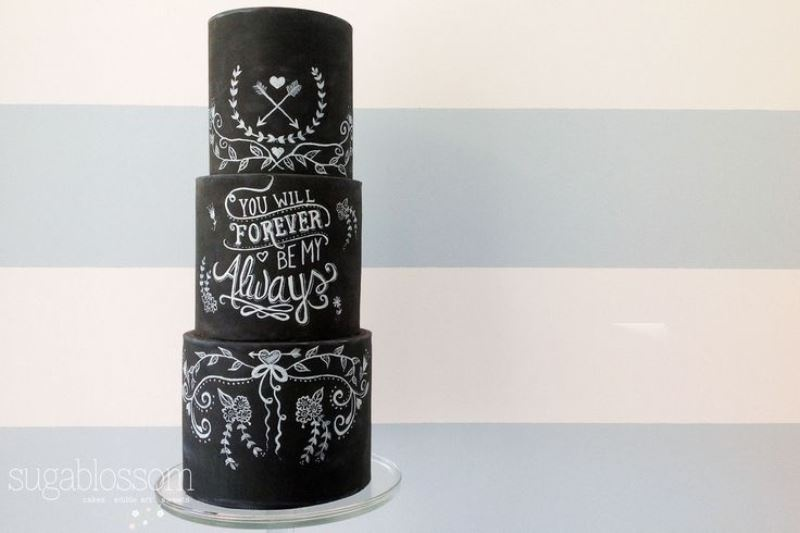 Picture Of the hottest 2015 wedding trend 30 chalkboard wedding cakes  18