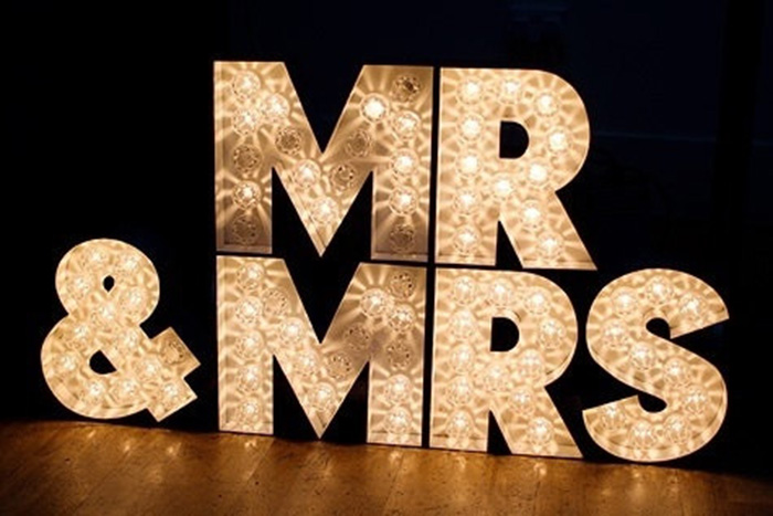 The Latest Wedding Trend Vintage Marquee Letters