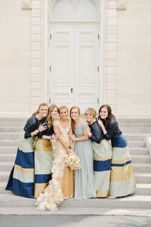 maxi color block bridesmaid dresses and a grey maxi dress for the maid of honor
