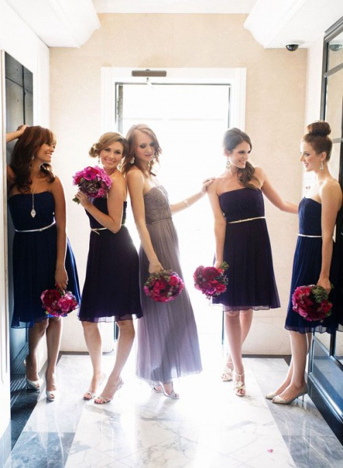 straples knee navy bridesmaid dresses and a grey strapless maxi dress for the maid of honor