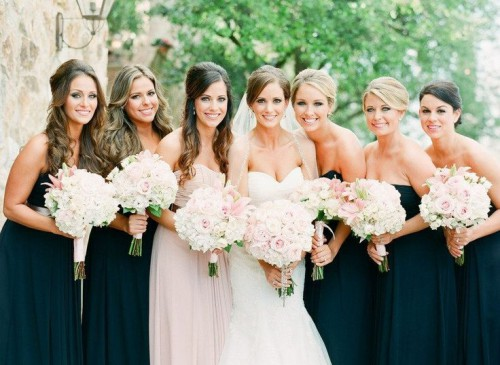 matching strapless black maxi gowns for the girls and a matching blush one for the maid of honor