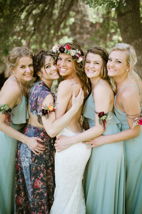 spaghetti strap mint green maxi bridesmaid dresses and a gorgeous moody floral maxi dress with a cutout back