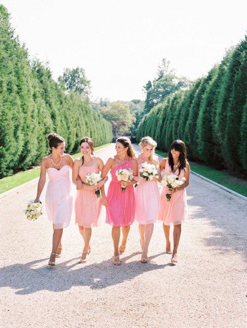 blush and light pink one shoulder short dresses and a coral pink dress for the maid of honor