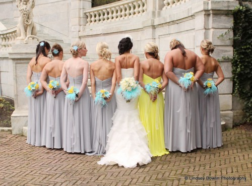 matching strapless grey maxi dresses and a bright yellow one for the maid of honor