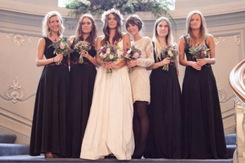 black strap maxi dresses with V necklines and a knee neutral embellished dress for the maid of honor