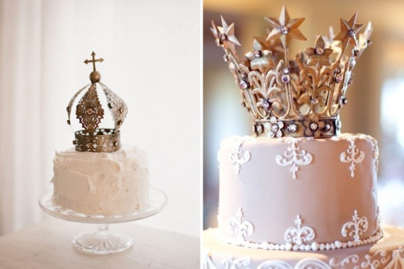 The Newest Wedding Trend Crown Cake Toppers