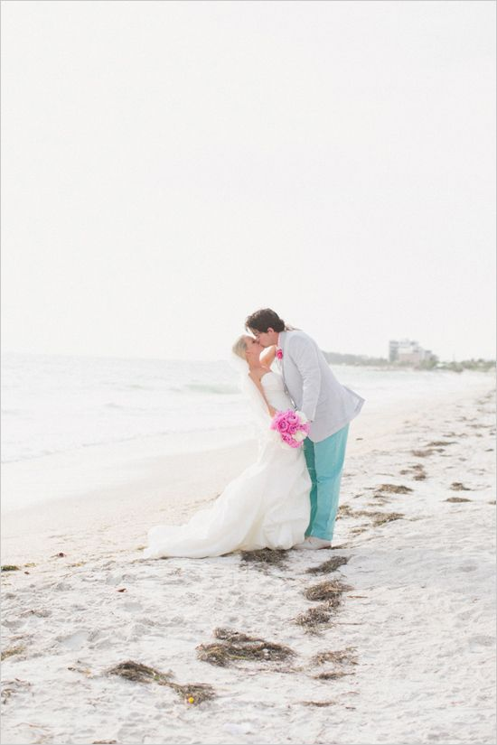 Turquoise And Pink Beach Wedding In Florida