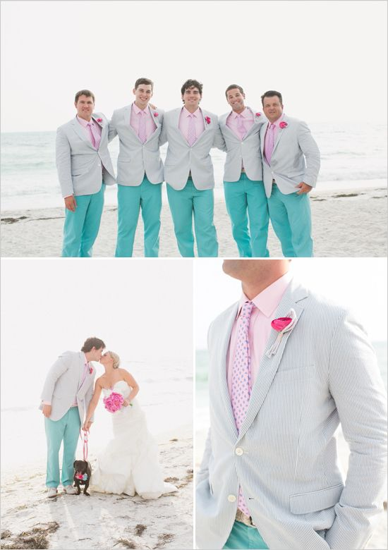 Picture Of Turquoise And Pink Beach Wedding In Florida