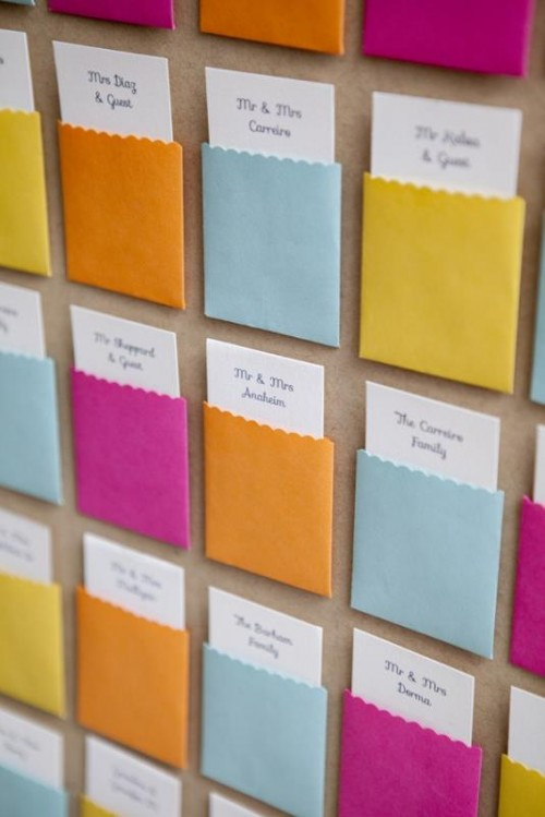 Colorful DIY Pocket Card Display For Your Wedding