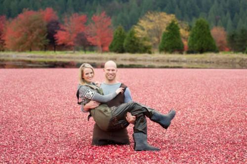 Unique Cranberry Harvest Engagement Session