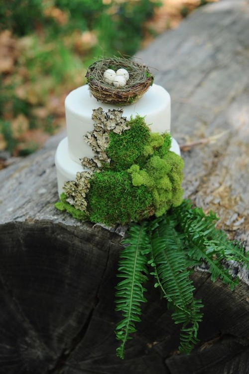 a wild woodland wedding cake in white decorated with moss, bark, leaves and a a faux nest with eggs on top